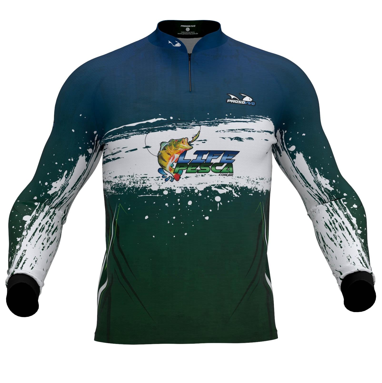 Camiseta De Pesca Presa Viva Masculina Proteção Solar Uv - LIFE PESCA