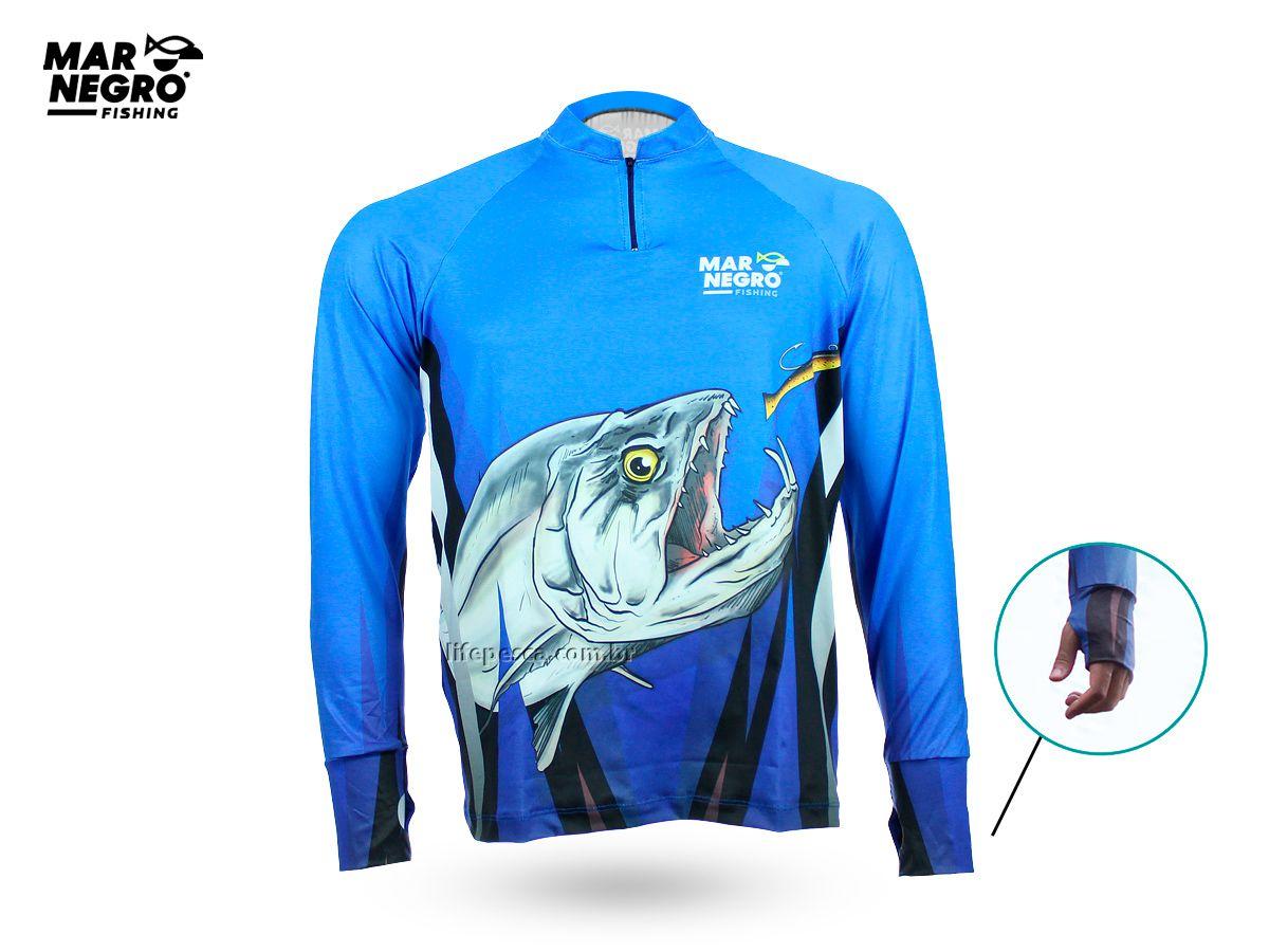 Camiseta de Pesca Proteção Solar 50+ UV Mar Negro - Cachorra