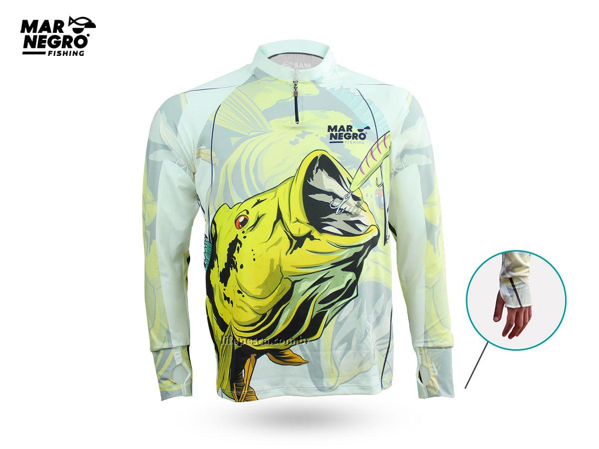 Camiseta de Pesca Proteção Solar 50+ UV Mar Negro - Tucunaré Amarelo