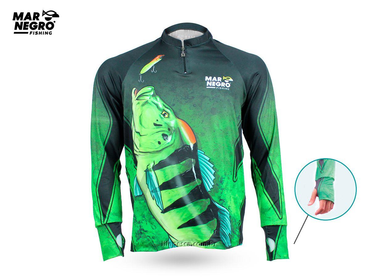 Camiseta de Pesca Proteção Solar 50+ UV Mar Negro - Tucunaré Azul