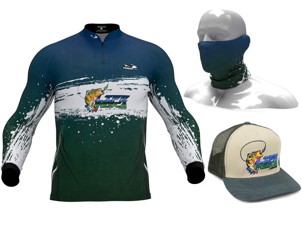Camiseta De Pesca Proteção Solar Uv Life Pesca + Bandana + Boné