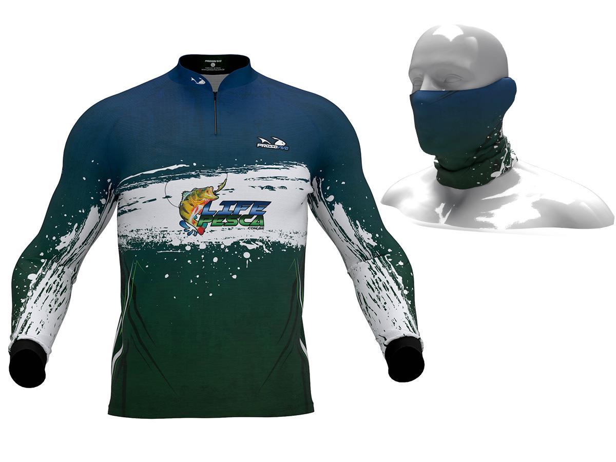 Camiseta Presa Viva Masculina Proteção Solar Uv + Bandana - LIFE PESCA