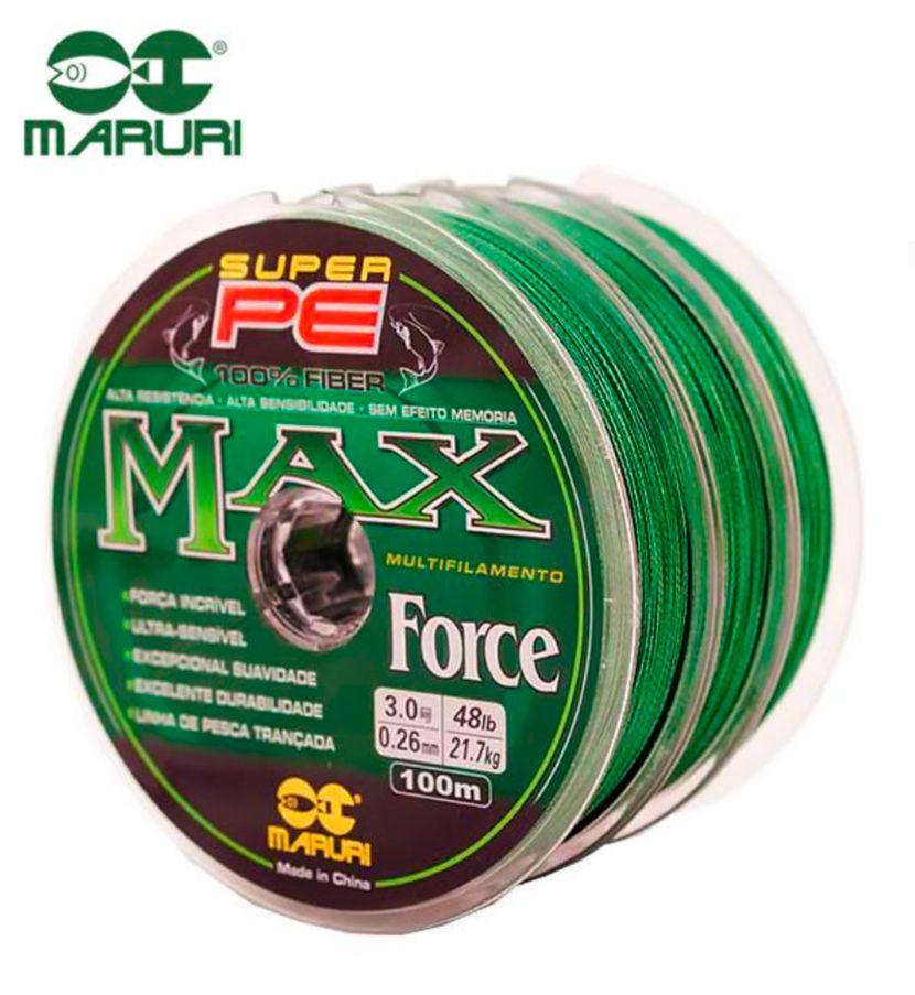 Kit 3 Linhas Multifilamento Maruri PE Max Force 0,35mm 48lbs/21,7kg - (3x 100 Metros)