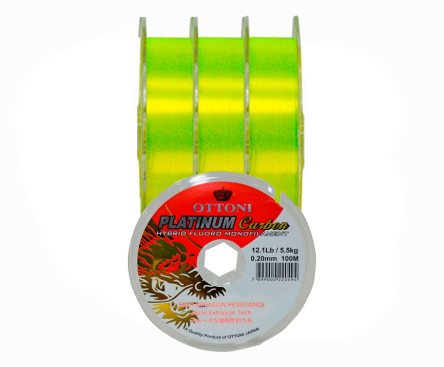 Kit 3 Linhas Monofilamento Platinum Carbon Yellow 0,20mm 12,1lbs/5,5kg - (3x 100 Metros)