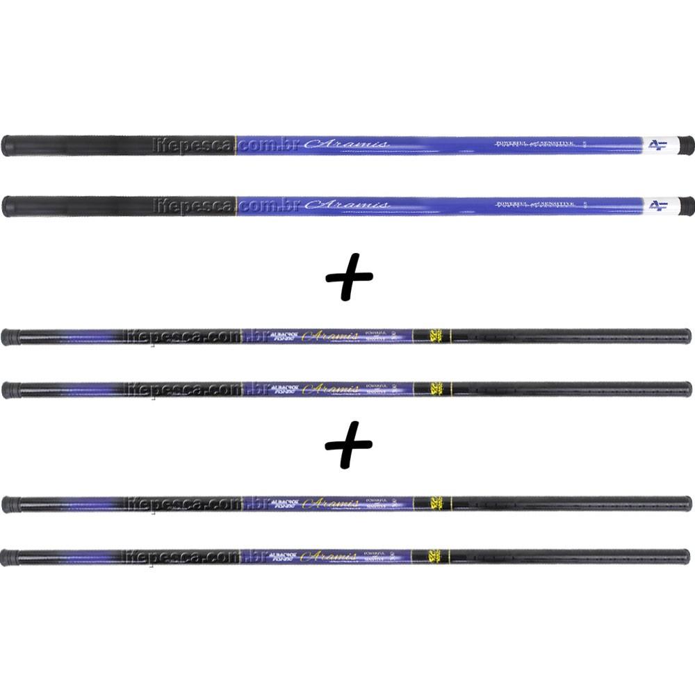 Kit 6 Varas Telescópicas Albatroz Fishing Aramis 6 Medidas Maiores - 22% Carbono