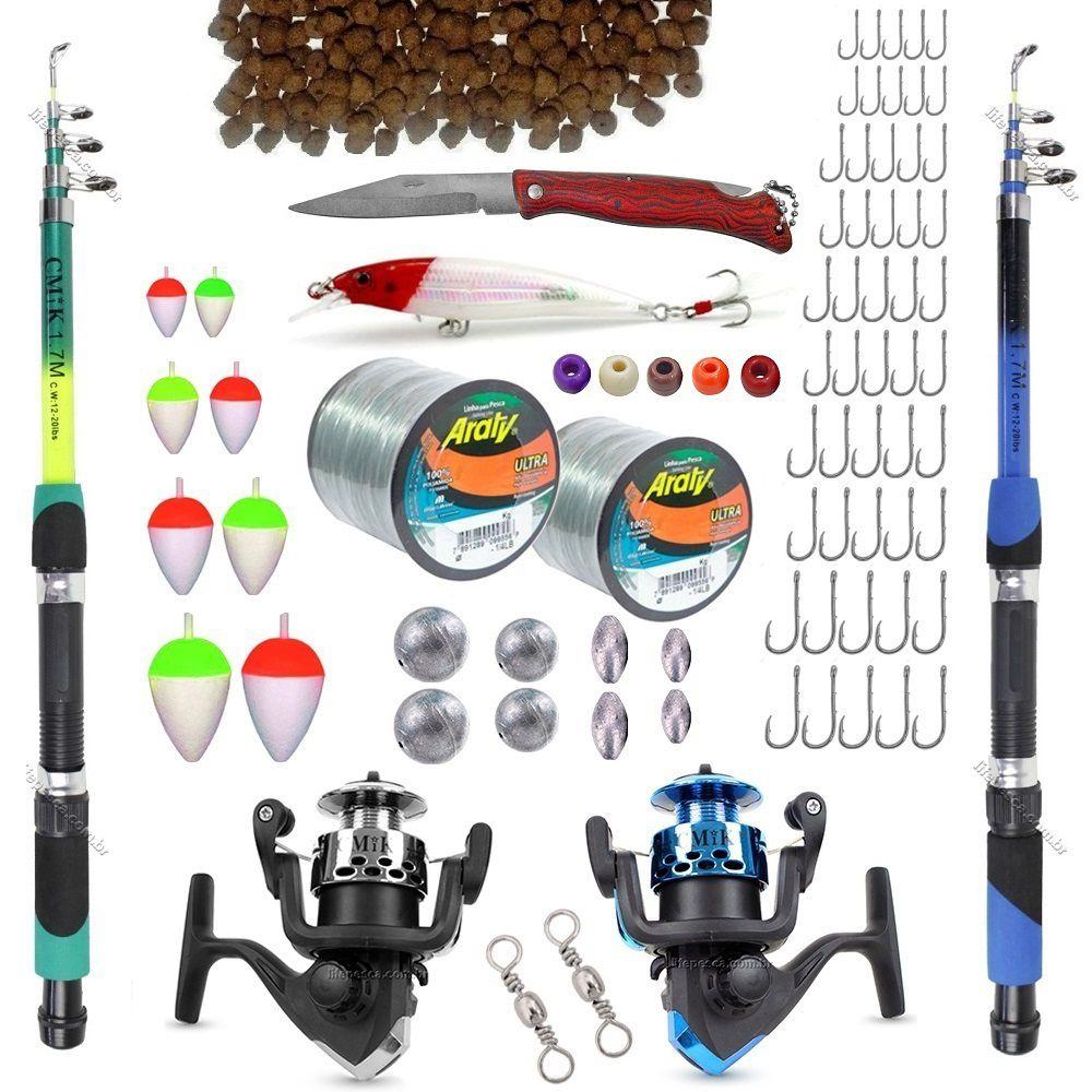 Kit De Pesca C/ 2 Varas Telescópicas 2 Molinetes + Acessórios (Ref. 11)