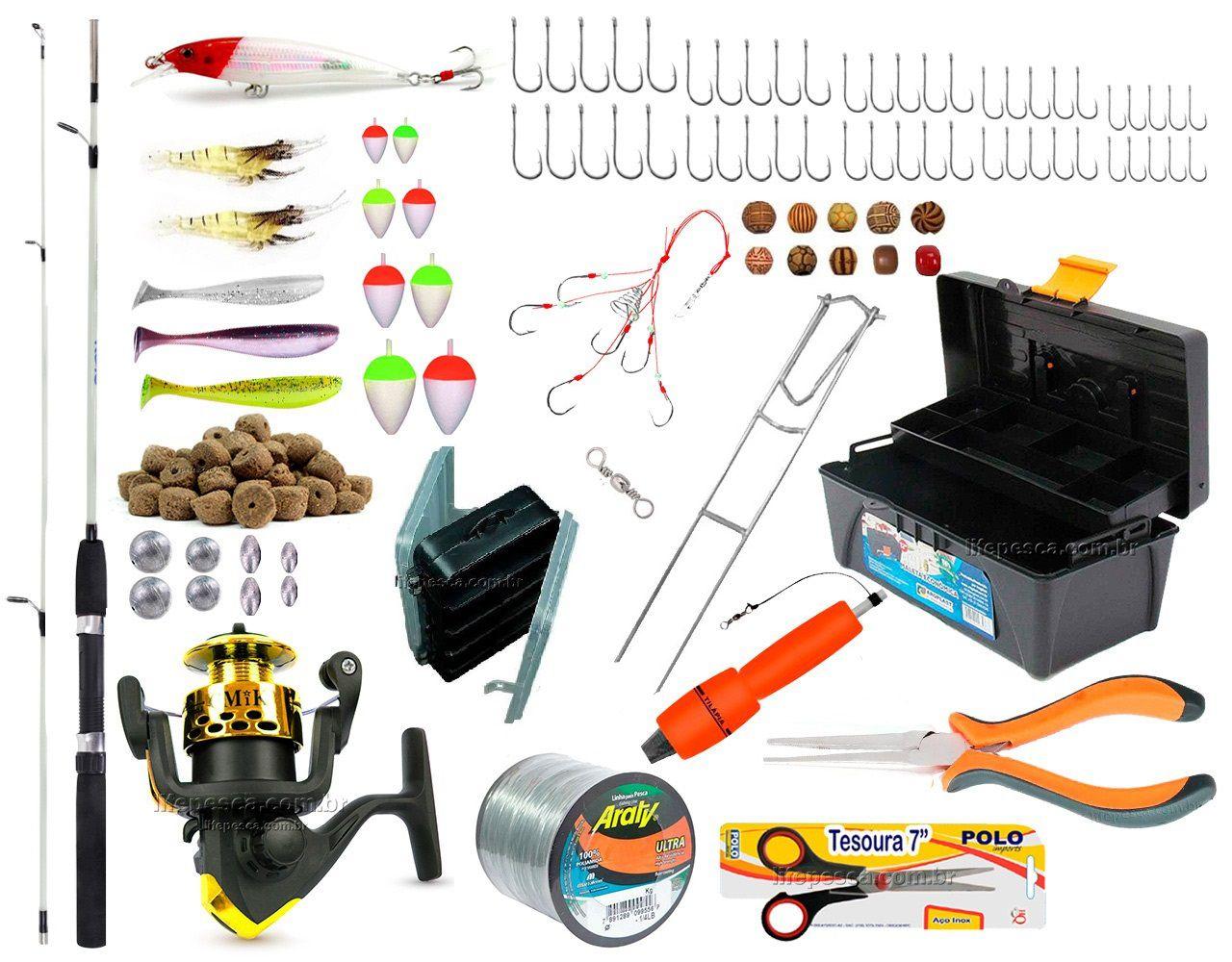 Kit De Pesca Completo 1 Vara 1 Molinete C/ Caixa de Pesca e Acessórios (Ref. 05)