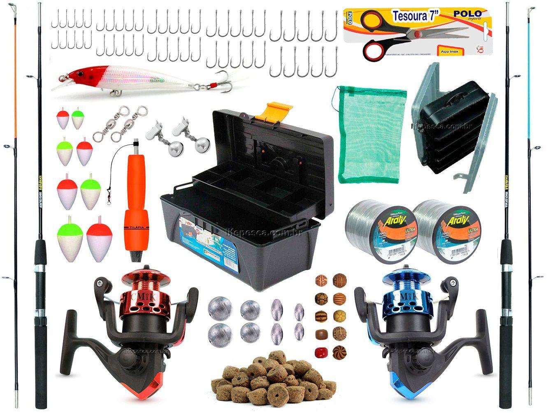 Kit De Pesca Completo 2 Varas 2 Molinetes + Caixa de Pesca e Acessórios (Ref. 04)