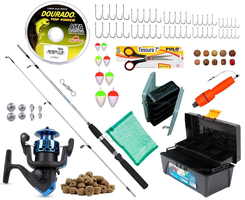 Kit de Pesca Vara Molinete C/ Caixa de Pesca e Acessórios (Ref. 09)