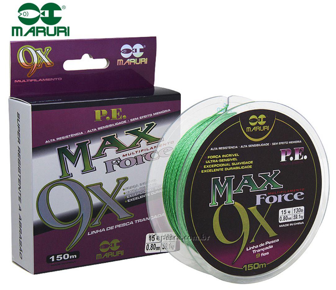 Linha Multifilamento Maruri Max Force 9x 0,32mm 55lbs/25,0kg 150m - Verde