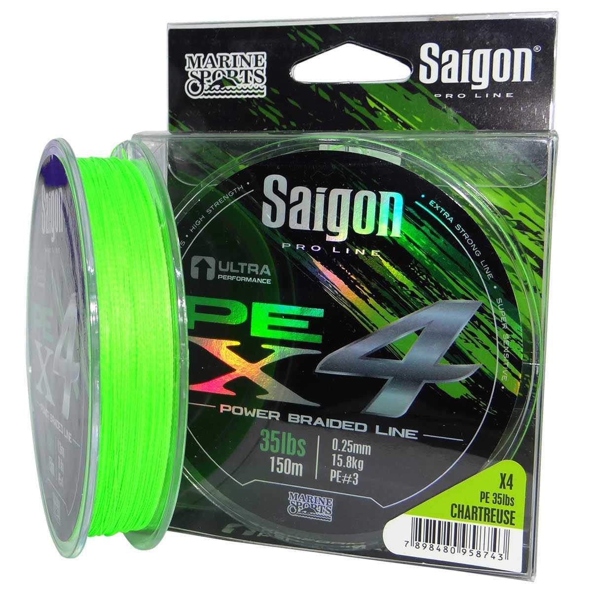 Linha Saigon Pro Line Multifilamento x4 0,25mm 35Lbs/15,8kg - 150 Metros