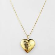 Colar Comprido Relicário Grande Coração Folheada Ouro 18K