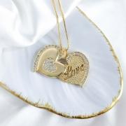 Gargantilha Coração Love Articulado Folheada a Ouro 18K
