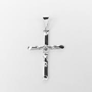 Pingente Cruz Jesus em Relevo Folheado a Prata 1000