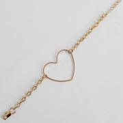 Pulseira Elos Cadeados e Coração Central Folheada Ouro 18k