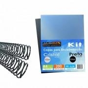 Kit Encadernação 200 Capas A4 + 200 Espirais Pretos 7, 9mm