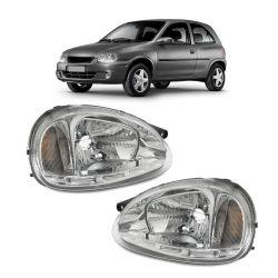 Farol Corsa Hatch Wagon Pick-up Sedan 94 95 96 97 98 99 00 01 02 03 Corsa Classic 03 04 05 06 07 08 09 10 Máscara Cromada Com LED