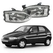 Farol com LED – Palio, Palio Young, Siena, Fiat Strada, Palio Weekend – Prata / Máscara Cromada - Modelo Esportivo / Tuning 96 97 98 99 00 01 02 - Marca Inov9