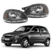 Farol Com LED– Corsa, Corsa Sedan, Corsa Wagon, Corsa Pickup e Corsa Classic – Preto / Máscara Negra - Modelo Esportivo / Tuning – 94 95 96 97 98 99 00 01 02 03 04 05 06 07 08 09 10 - Marca Inov9