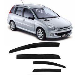 Calha de Chuva Peugeot 206 SW e 207 Escapade 00 01 02 03 04 05 06 07 08 09 10 11 12 13 4 portas Fumê
