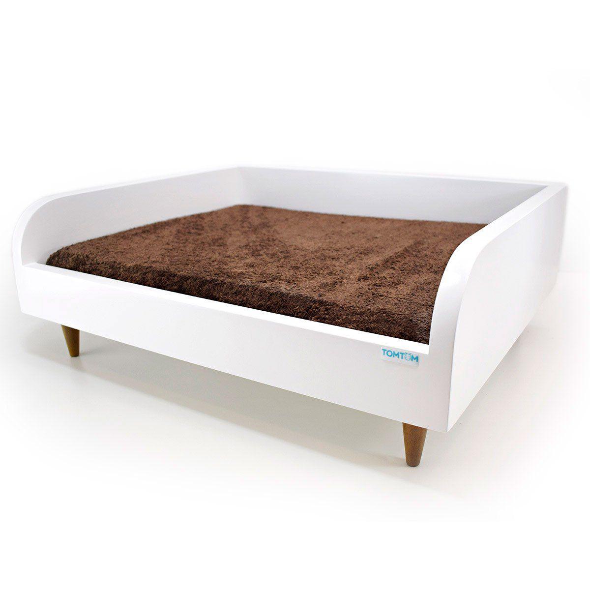 Sofá para Cachorro Tomtom Branco com Almofada Marrom - P