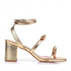 Sandália Salto Médio Lizard Metal Ouro