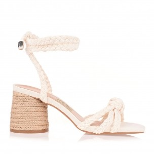 Sandália Salto Médio Trança Cotton Cru