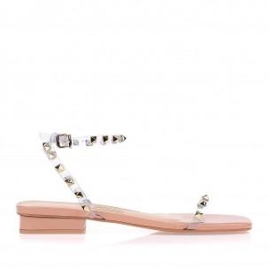 Sandalia Salto Medio Vinil Cristal