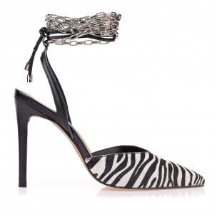 Slingback Salto Alto Fur Zebra
