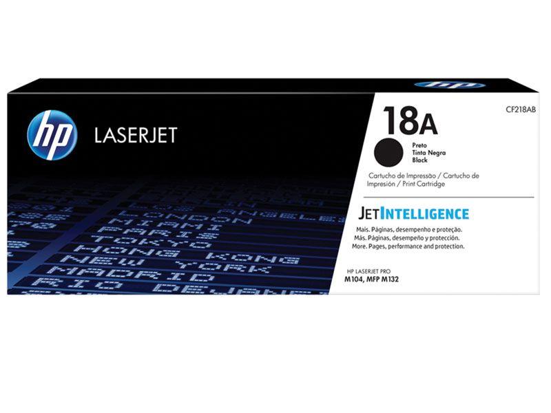 Toner Laserjet Mono HP Suprimentos CF218AB HP 18A Preto M104W / M132FW / M132NW