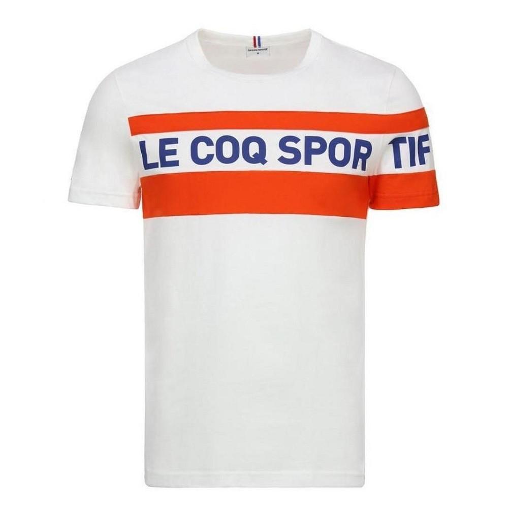 Camiseta Le Coq Sportif Essentiels Saison Branco Laranja