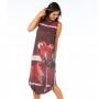 Vestido Adulto Midi Araras em Fundo Vermelho