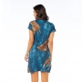 Vestido Curto Vanilla Arara Azul e Folhas