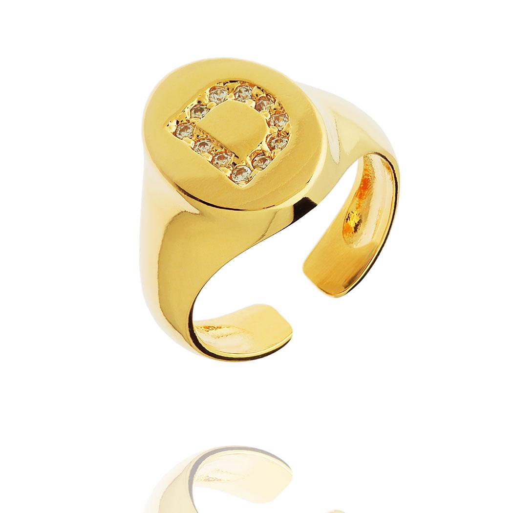anel dedinho letra regulável Daiany Hank dourado