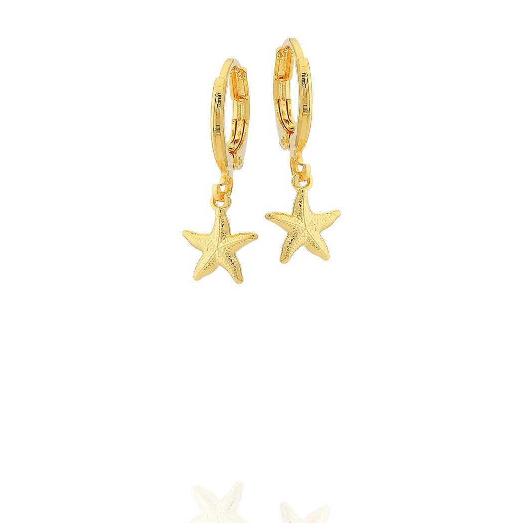 brinco argola estrela do mar dourado