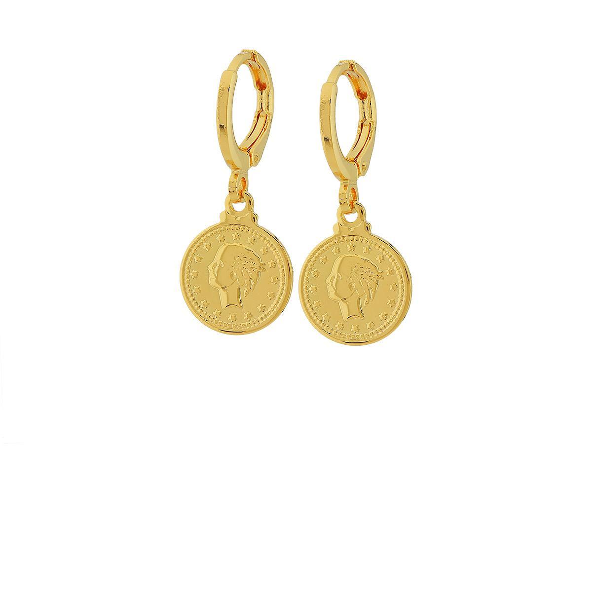 brinco argola pingente moeda libra dourado