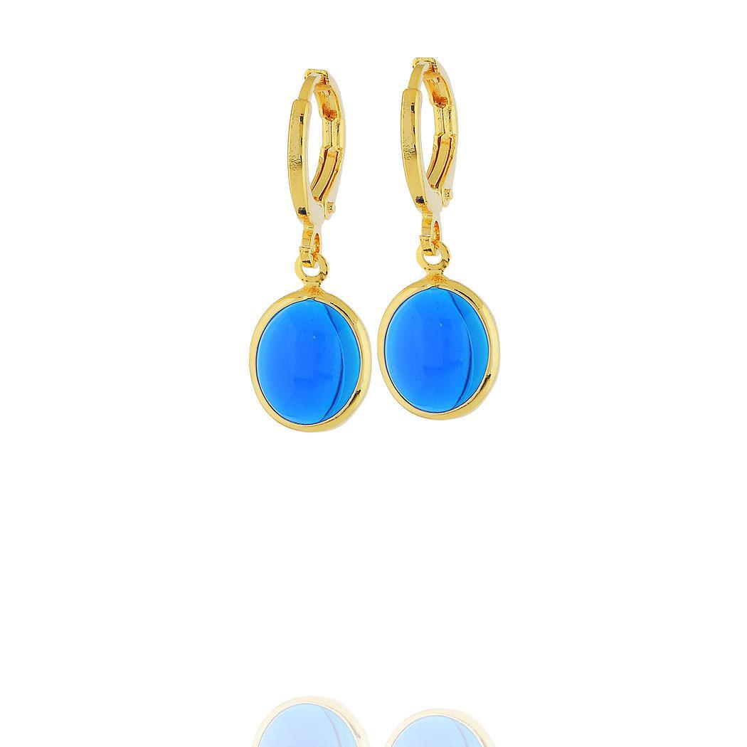brinco argola pingente oval cristal azul