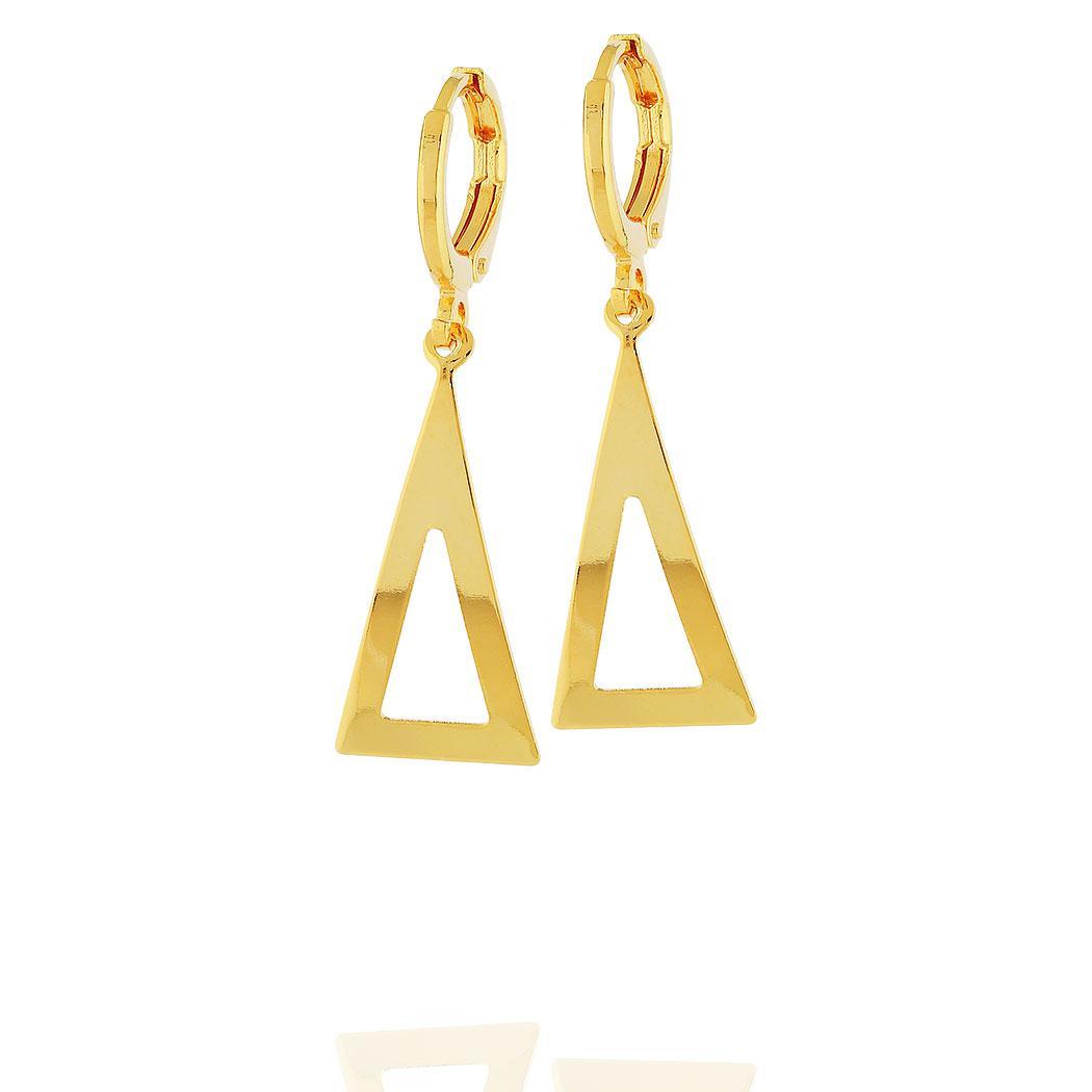 brinco argola pingente triangulo dourado
