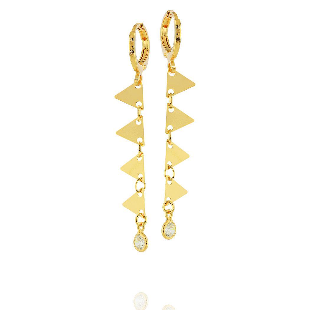 brinco argola pingente triângulos zircônias dourado