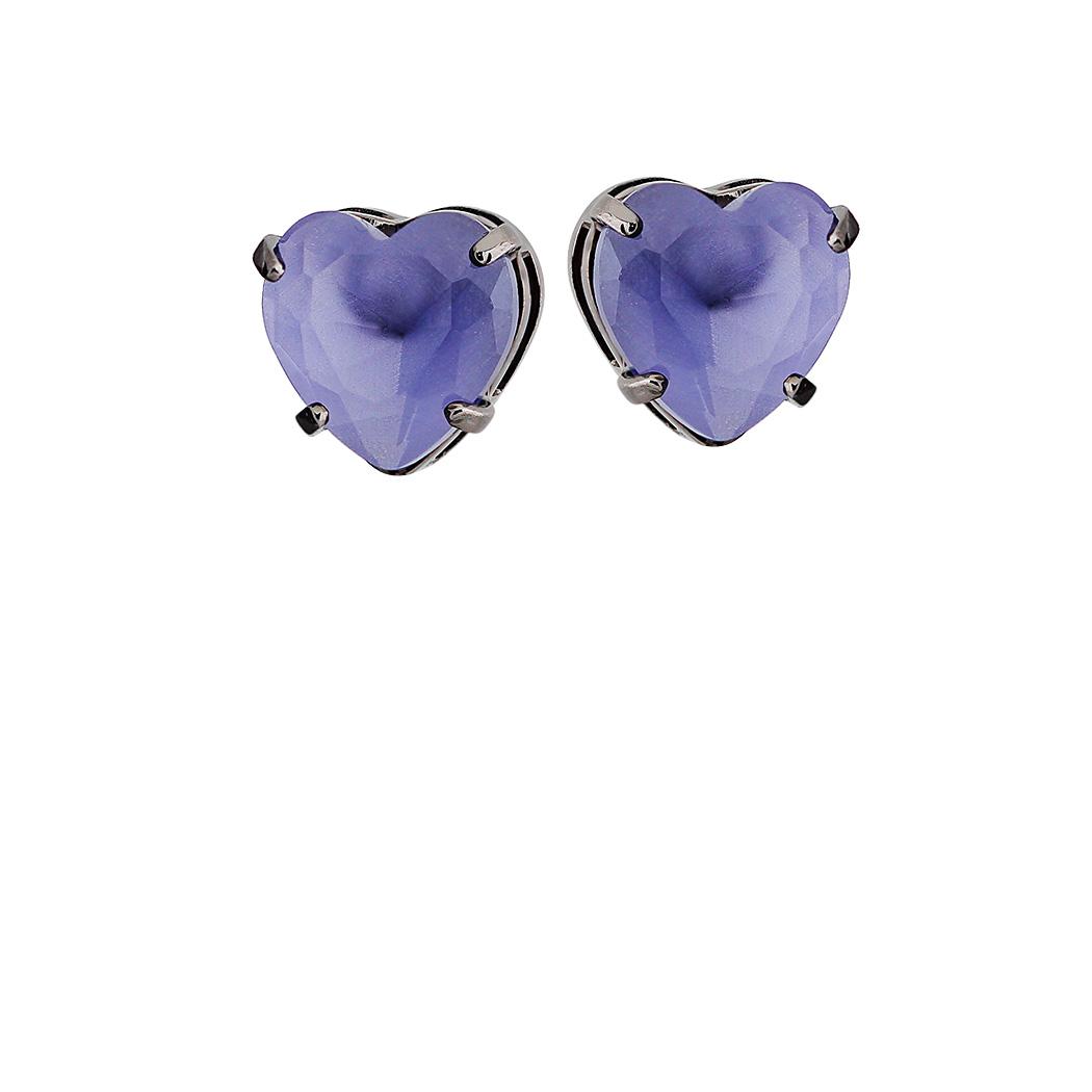 brinco aurora boreal coração violeta ródio negro