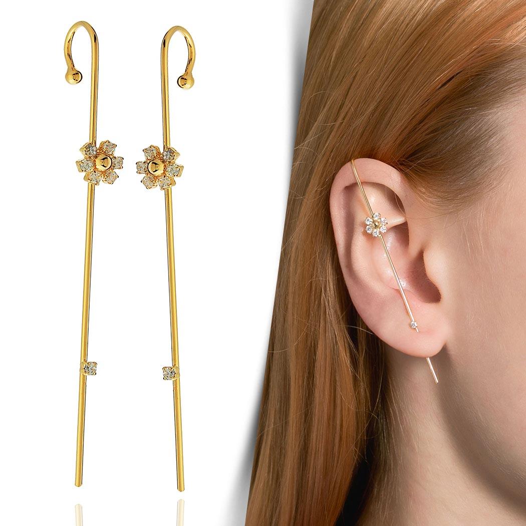 brinco ear pin flor zircônias dourado