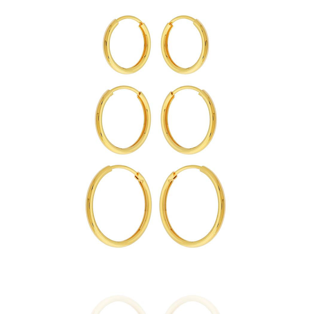 brinco kit trio argolas 3 furos dourado