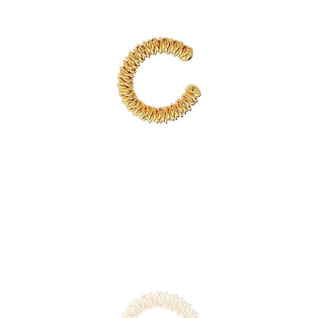brinco piercing fake aramado dourado