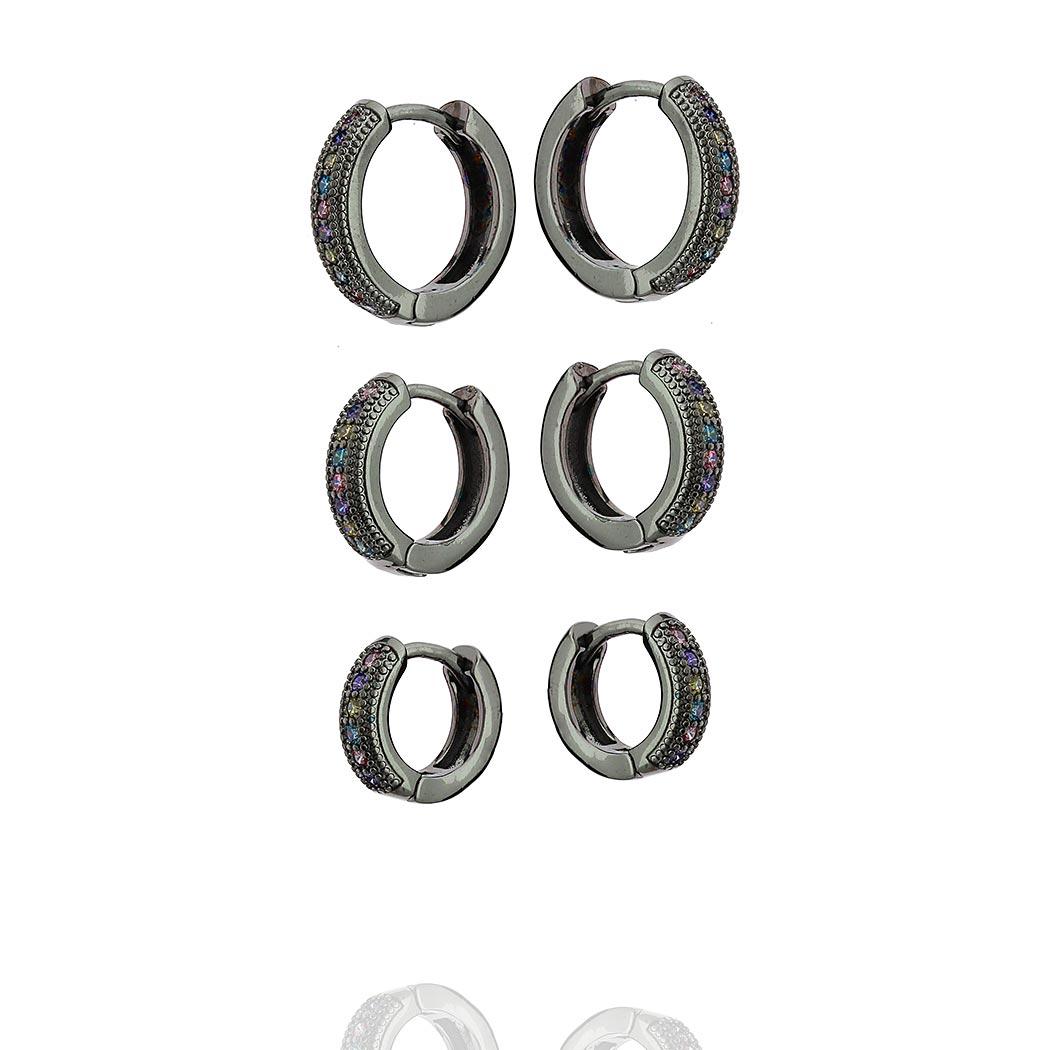 brinco trio argolas aurora boreal zircônias ródio negro