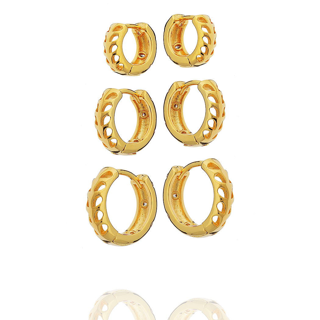 brinco trio argolas gotas zircônias dourado