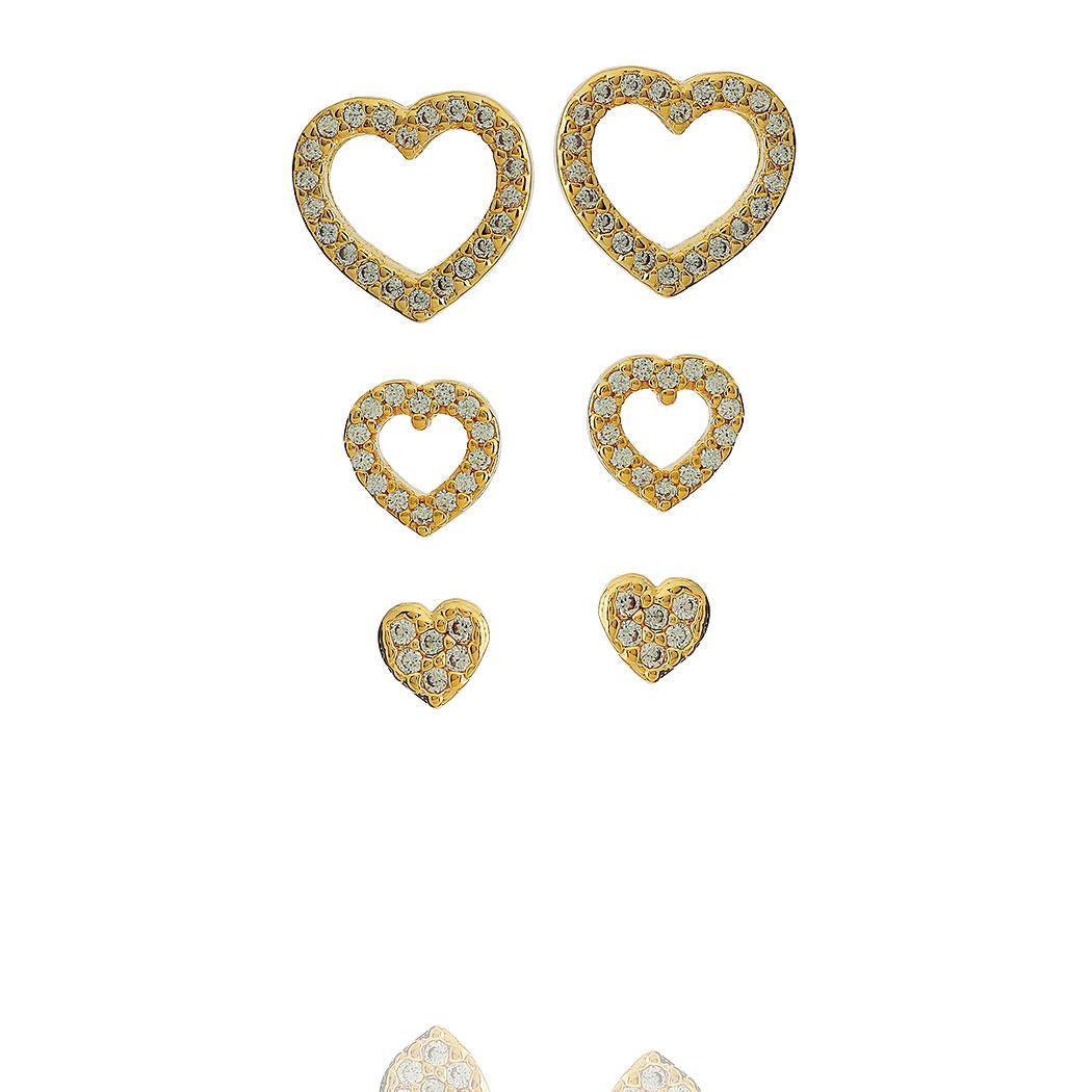 brinco trio coração zircônias dourado