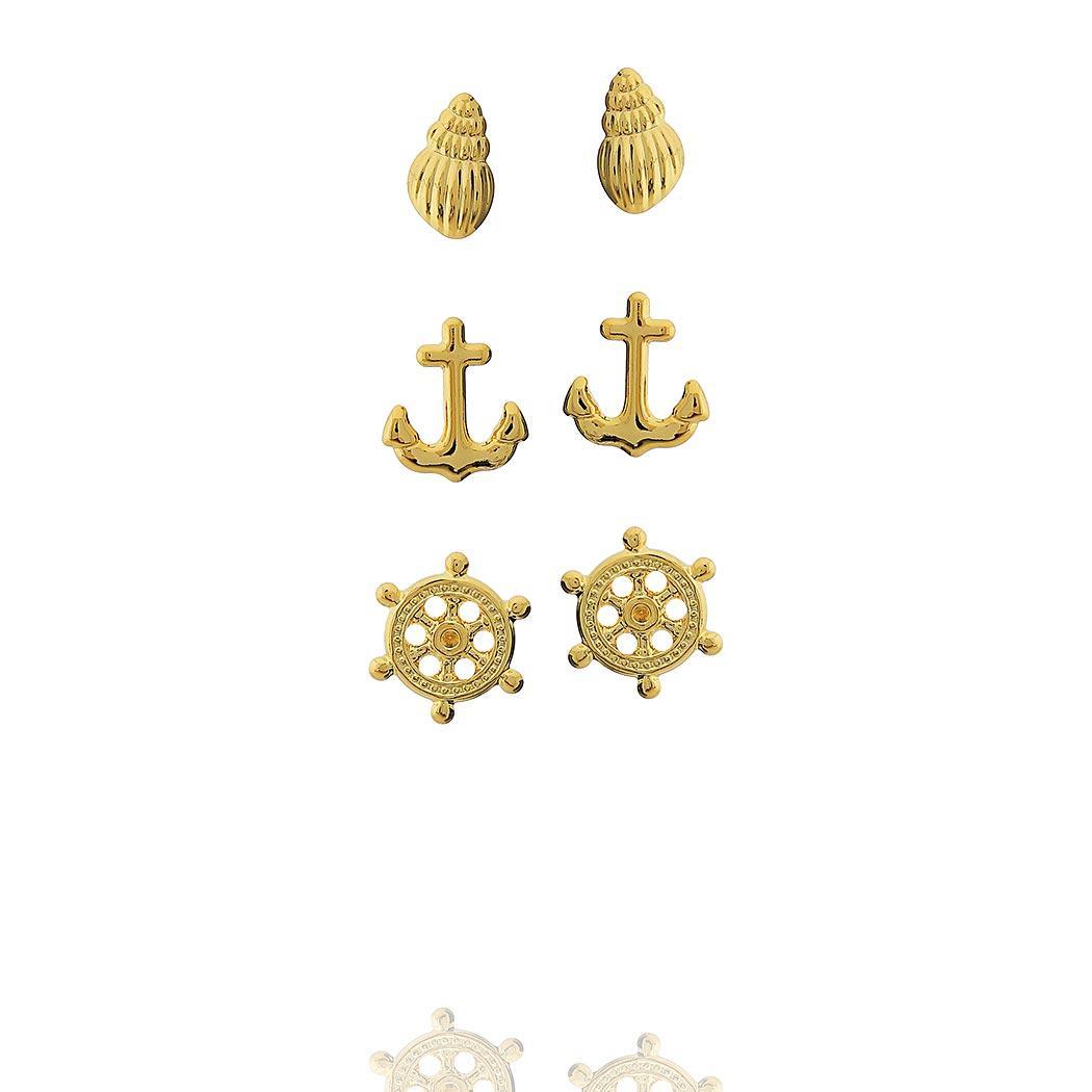 brinco trio mar oceano dourado