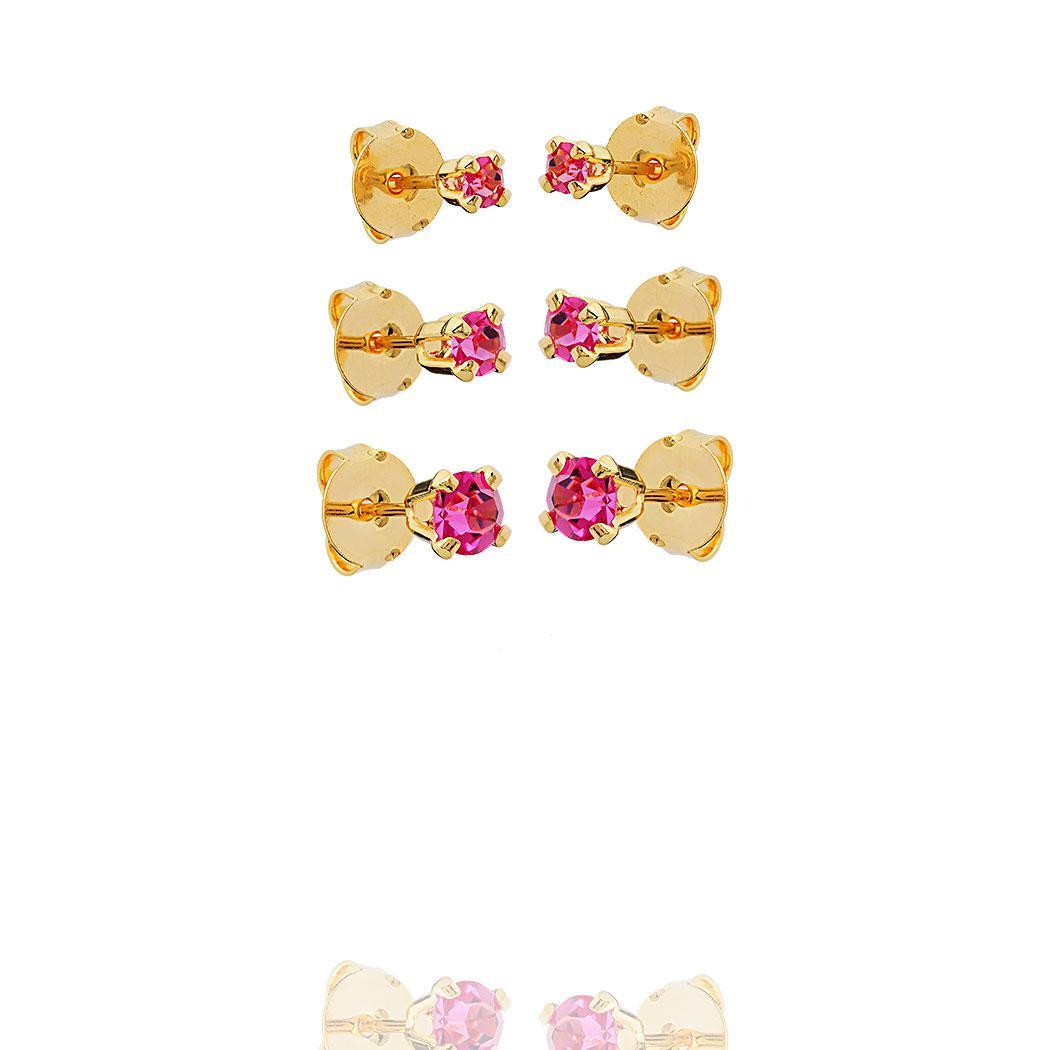 brinco trio solitário rosa zirconia dourado