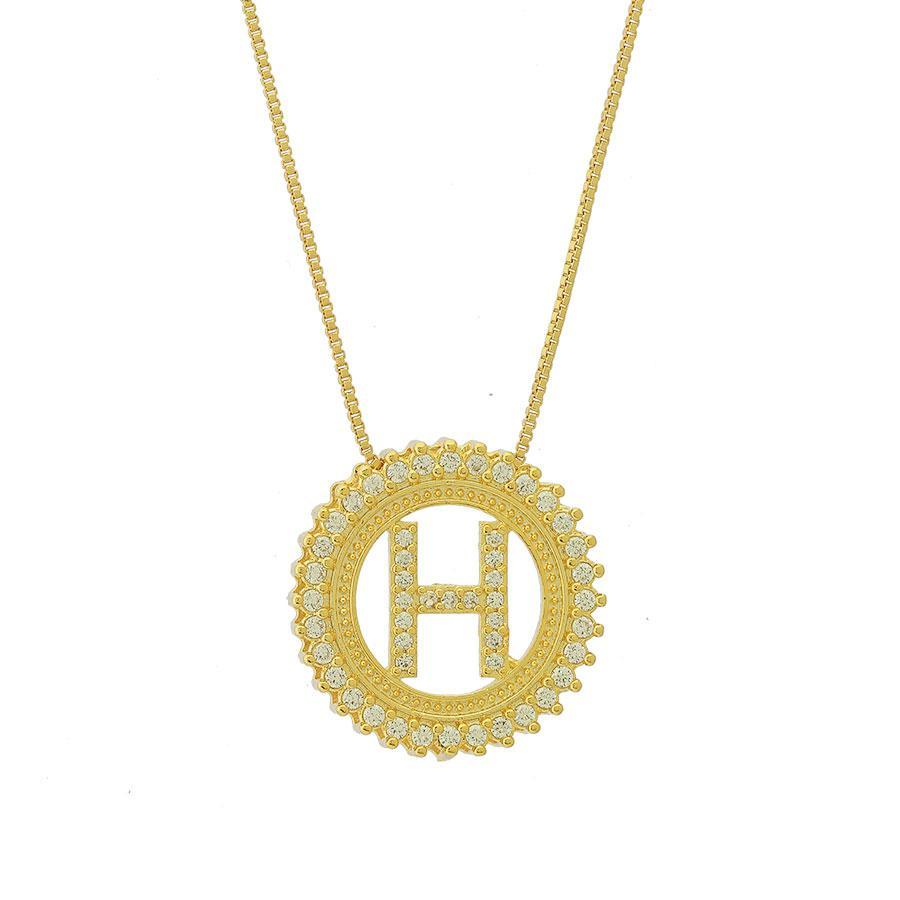 colar de letra H zircônias dourado