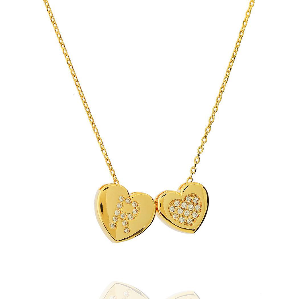 colar inicial e coração personalizado zircônia